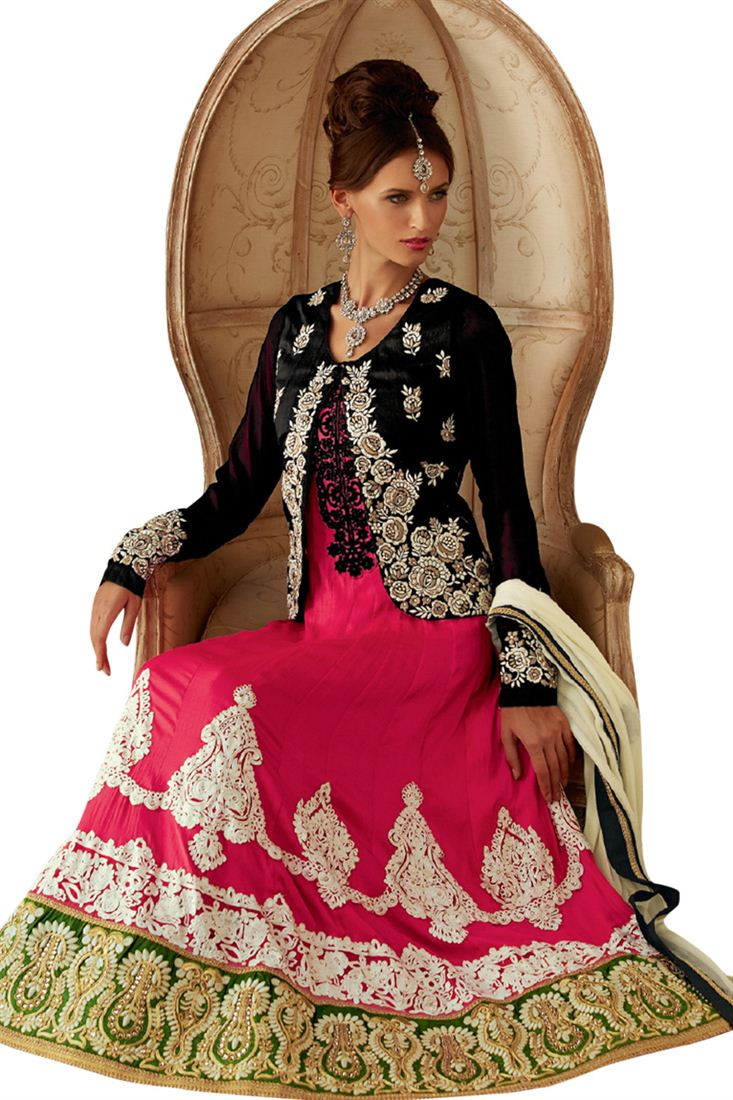Pink-Black Embroidered Georgette Floor Length Salwar Suit