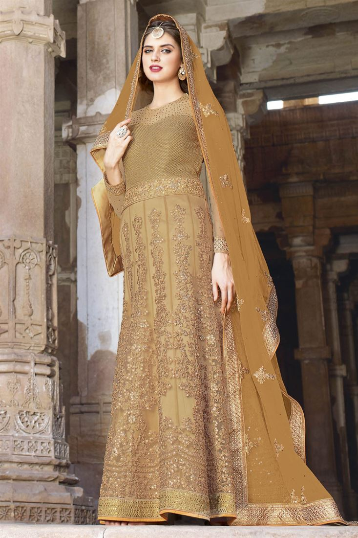 Beige Net Traditional Floor Length Gown Style Salwar Kameez with Embroidery Work
