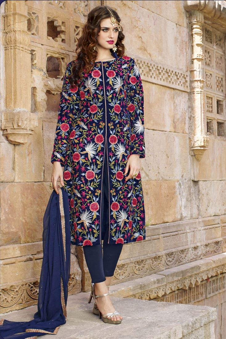 Navy Blue Viscos Satin Traditional Straigh Cut Salwar Kameez with Embroidery Work