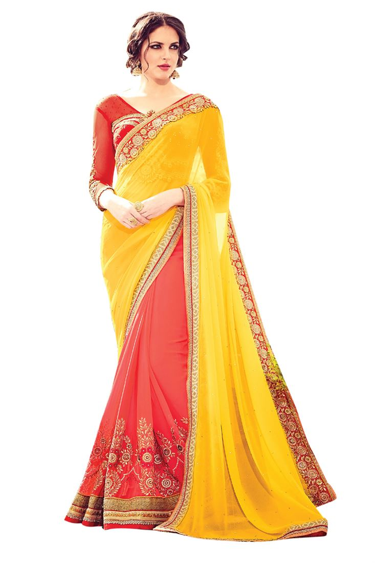 Pink and Yellow Georgette Embroideried Half Half Designer Wedding Saree