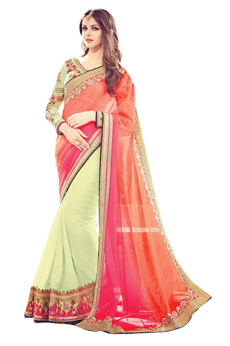 Multi Colour Georgette Embroideried Half Half Designer Wedding Saree
