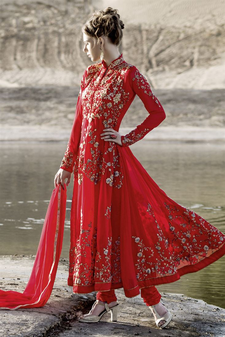 Red Embroidery Georgette semi-Stitch Traditional Chudidar salwar Suit