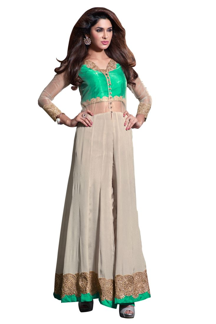 Green-Dull White Embroidery Viscos Crepe Semi-Stitch Designer Trouser Style Salwar Suit