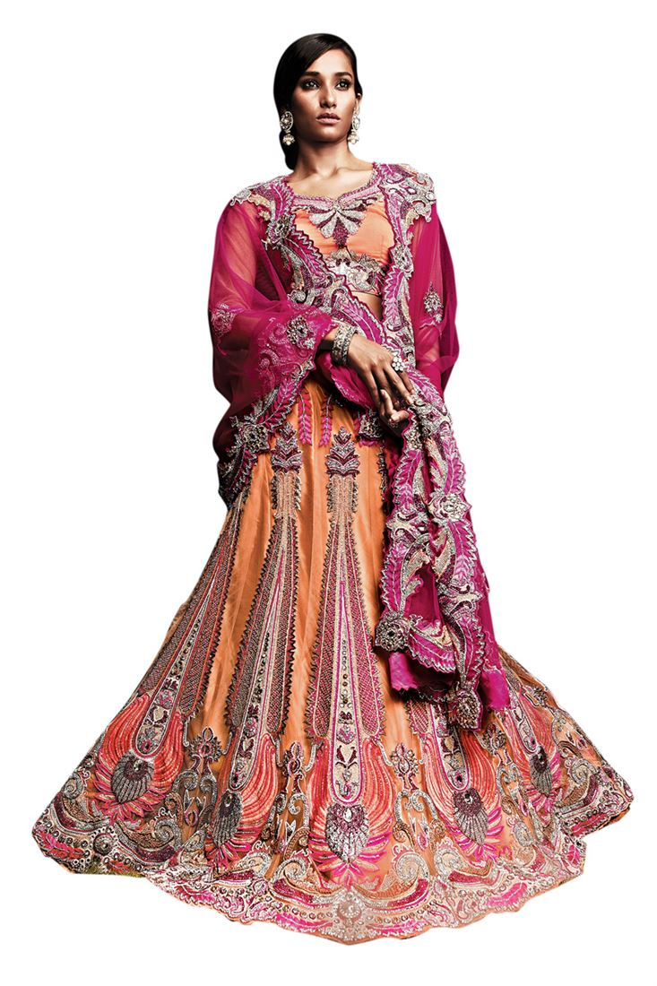 Peach Net Heavy Diamond Work Bridal Lehenga Choli with Blouse