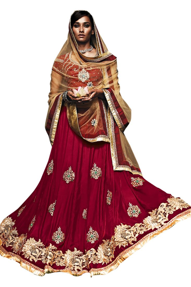 Dark Maroon Velvet Heavy Diamond Work Bridal Lehen