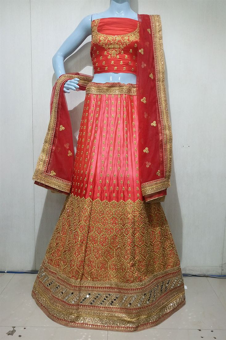 Pink-Red Shaded Pure Satin Heavy Embroidery Work Wedding Lehenga Choli