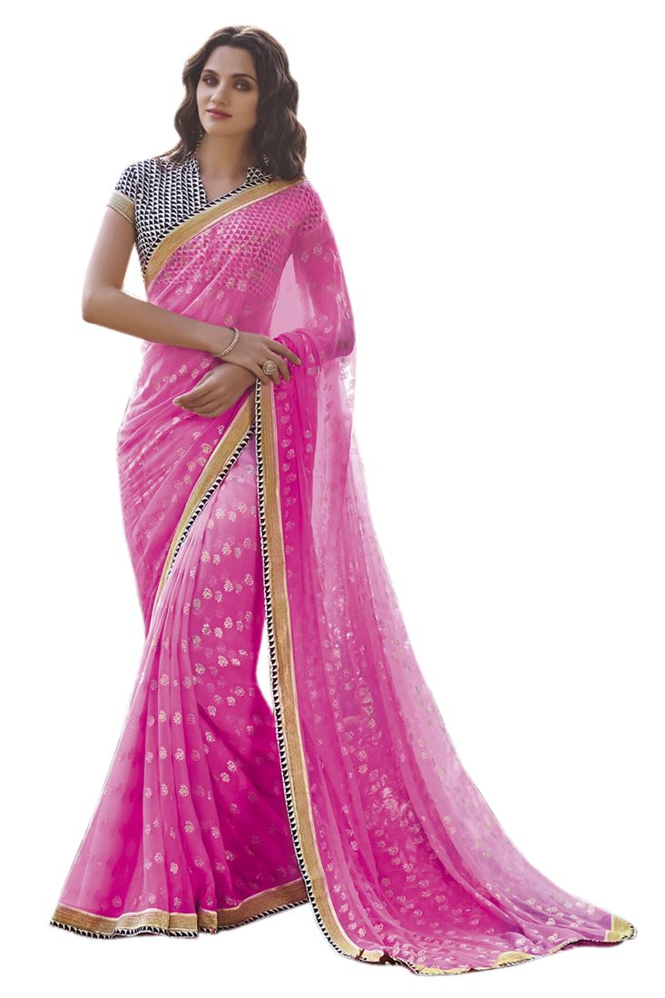 Pink Chiffon Foil Print Saree with Zari Work Border