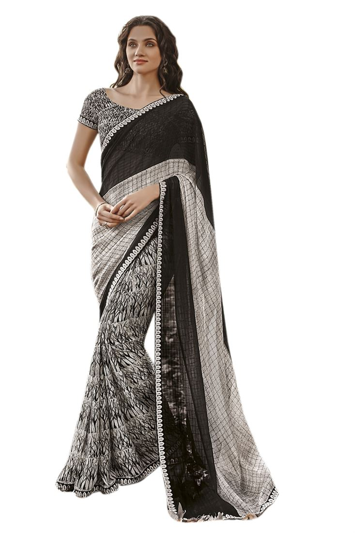 Black-White Georgette Printed Saree With Raw Silk