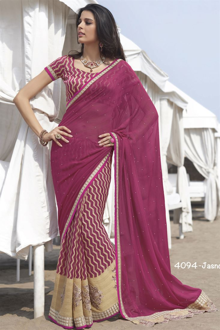Maroon Chiffon Pattern Party Wear Saree With Raw Silk Blouse
