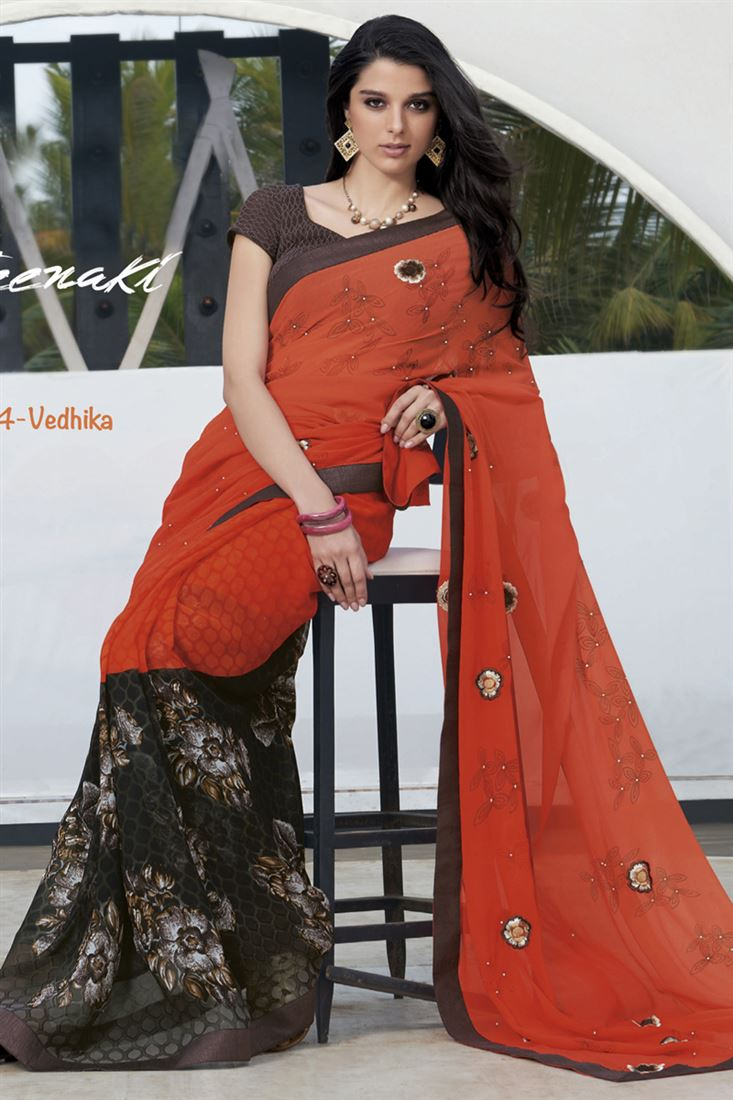 Orange-Brown Georgette Party Wear Saree With Georgette Blouse