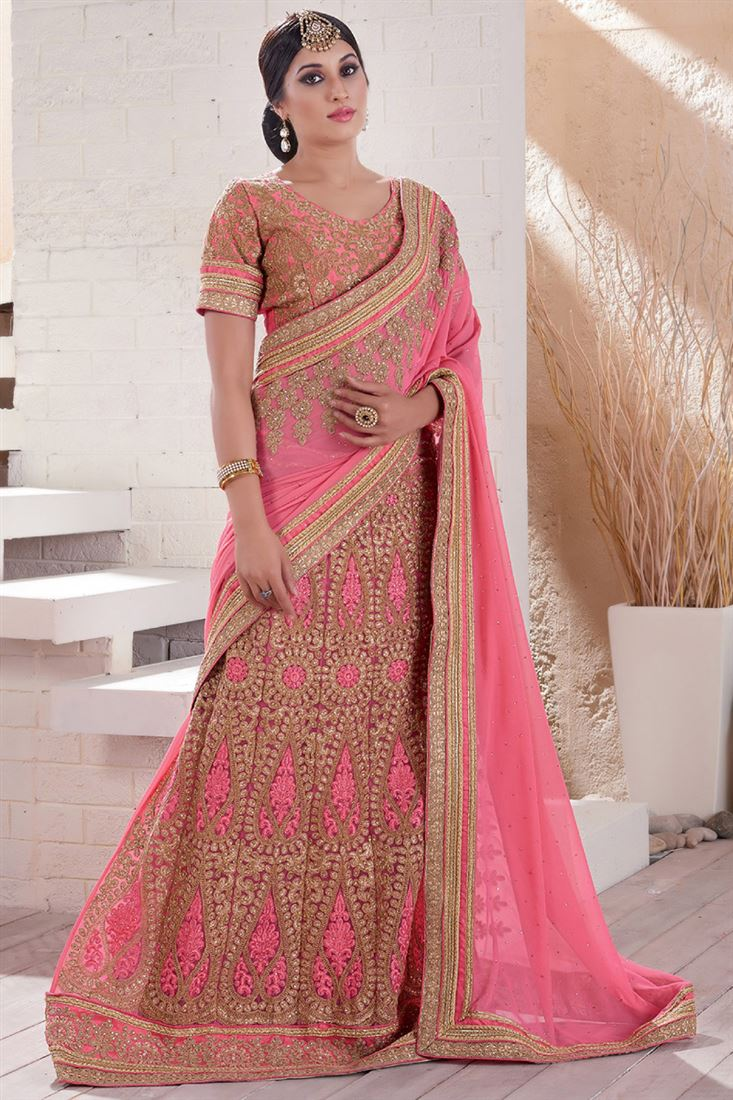 Peach Georgette-Net Heavy Embroidery Lehenga Style Saree with Worked Blouse