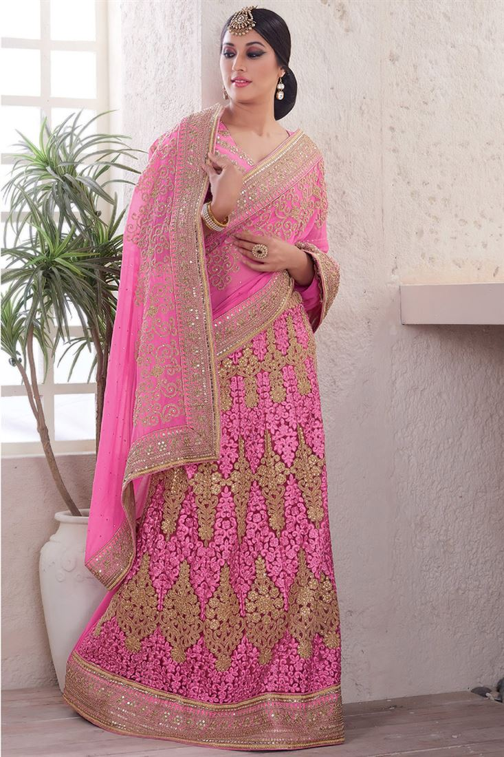 Light Pink Georgette-Net Heavy Embroidery Lehenga Style Saree with Worked Blouse