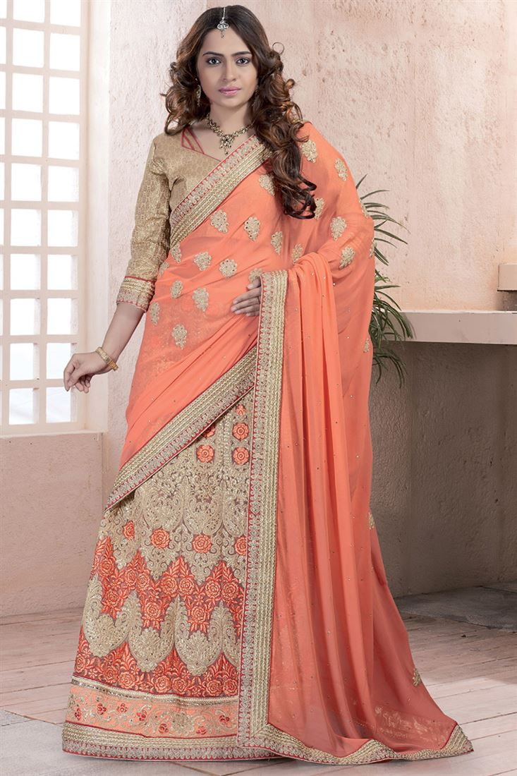 Orange Georgette-Net Heavy Embroidery Lehenga Style Saree with Worked Blouse