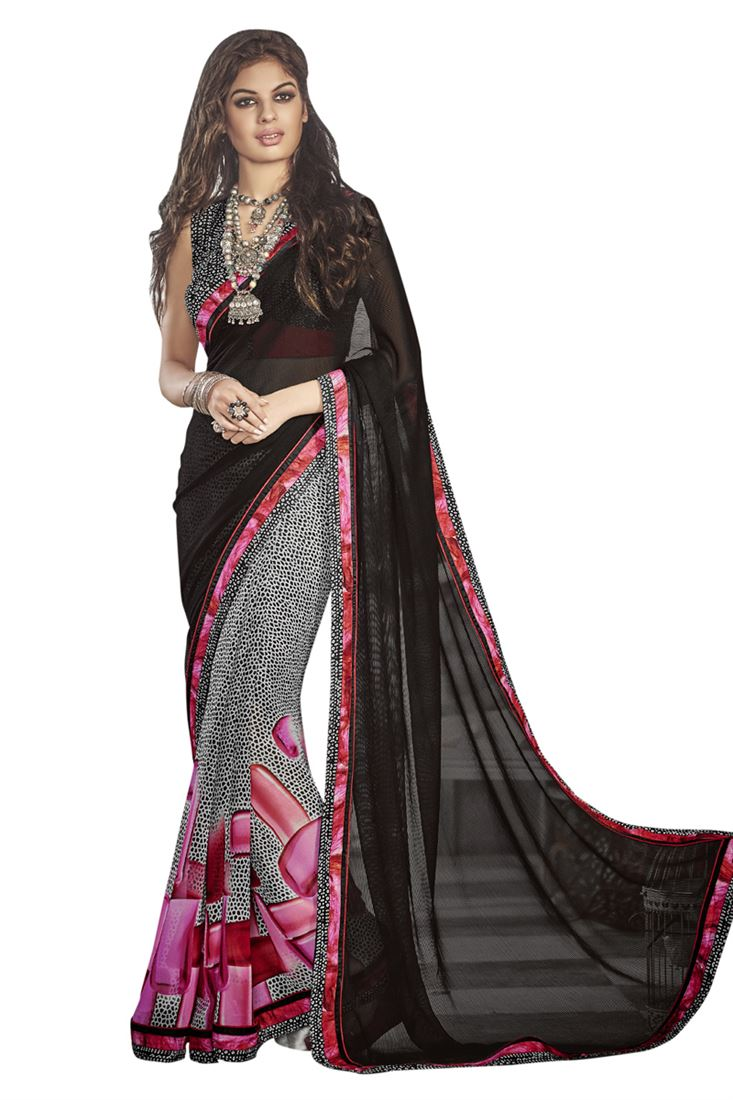 Black Chiffon Georgette Festival Wear Printed Saree with Crepe Blouse