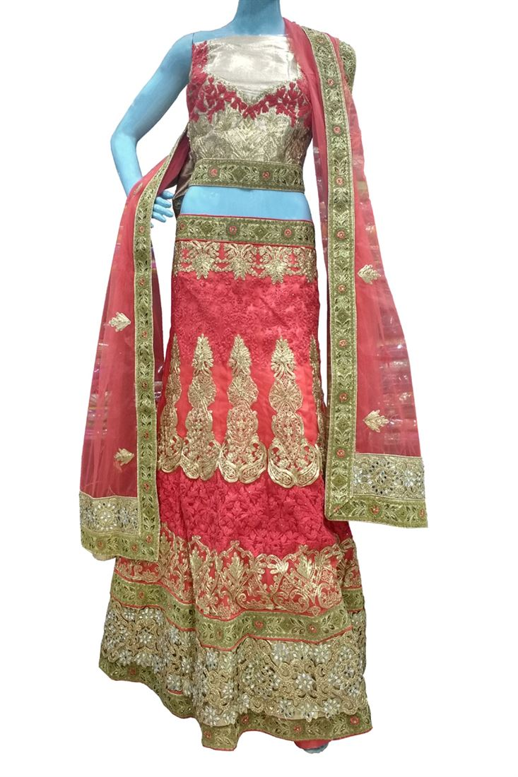 Red Heavy Zari Work Net Wedding Semi-Stitch Lehenga Choli