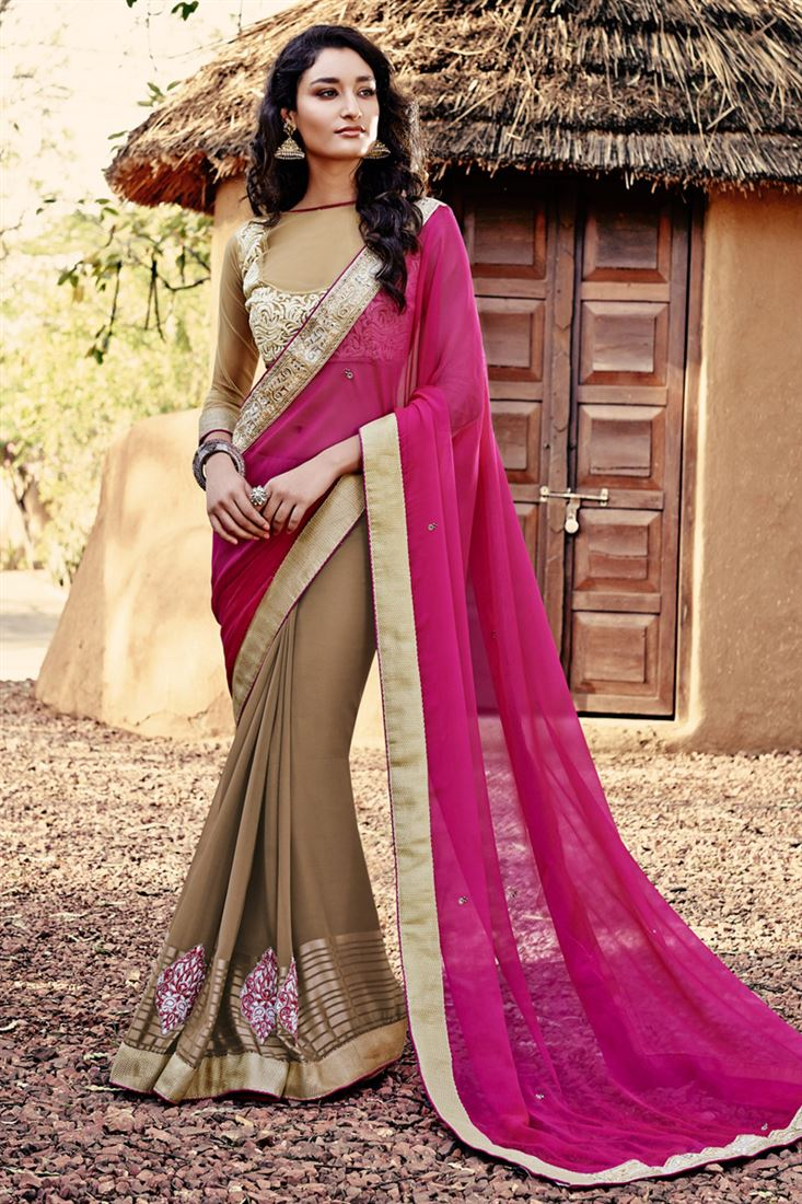 Brown-Magenta Chiffon Georgette With Designer Blouse Half-Half Saree