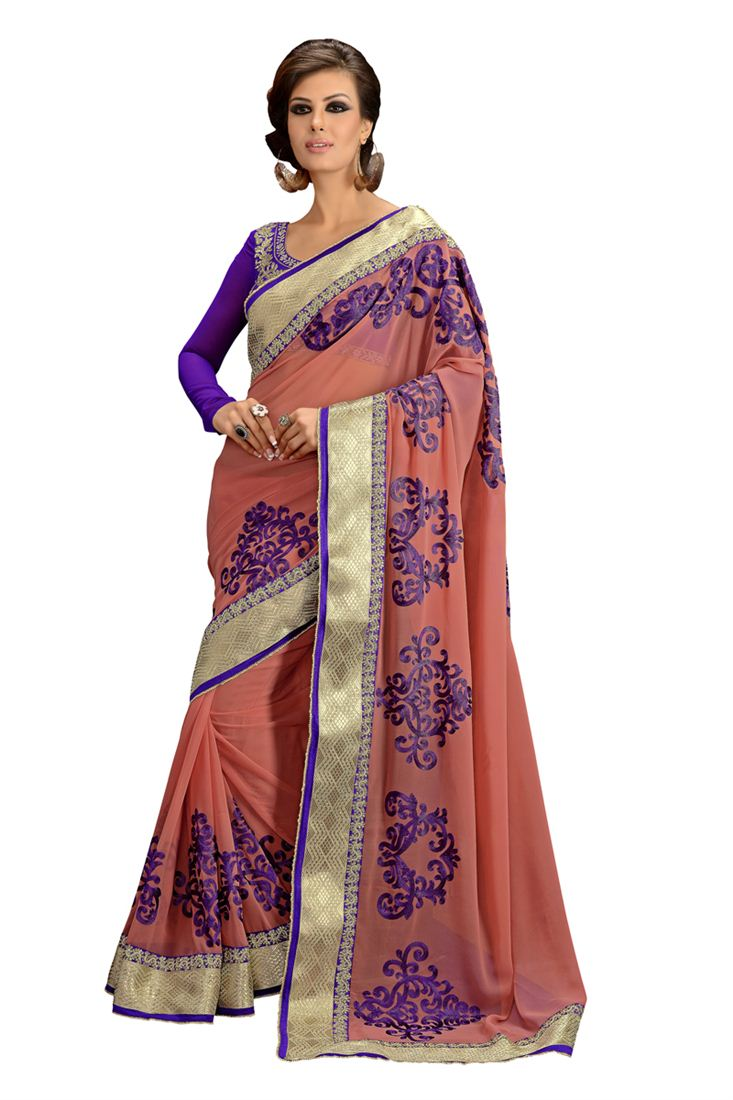 Peach Embroidered Georgette Party Wear Saree with Blouse