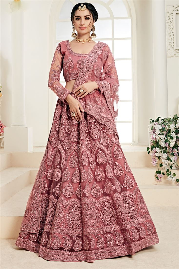 Rose Pink Net Heavy Designer Bridal Wear Lehenga With Cording Embroidery Work