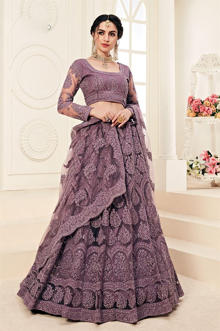 Violet Colour Net Heavy Designer Bridal Wear Lehenga With Cording Embroidery Work