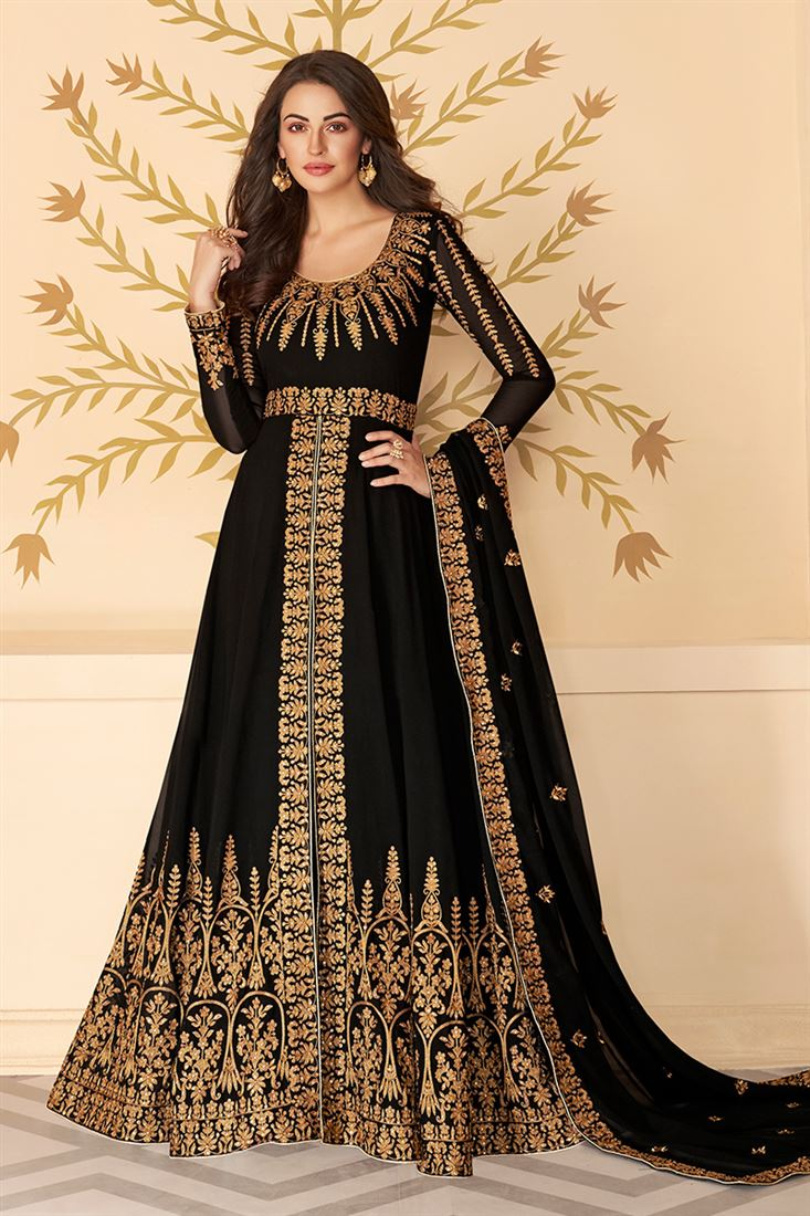 Adroable Black Colour Georgette Embroidered Straight Cut Salwar Suit