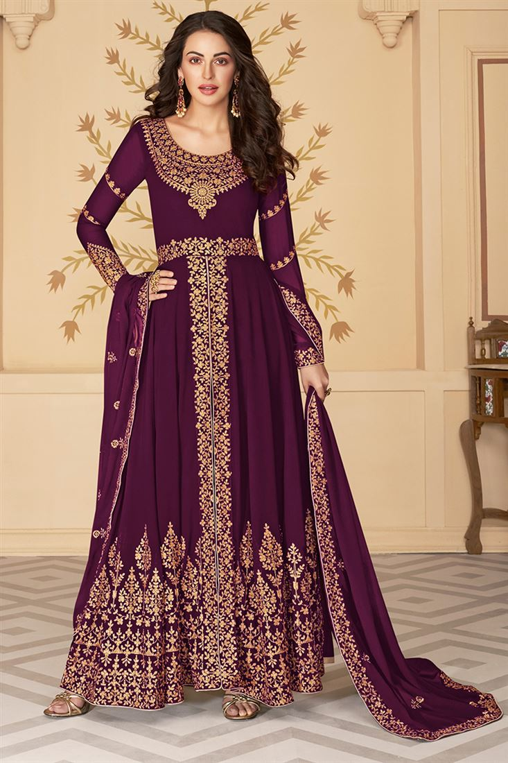 Magnetic Dark Purple Colour Georgette Embroidered Straight Cut Salwar Suit