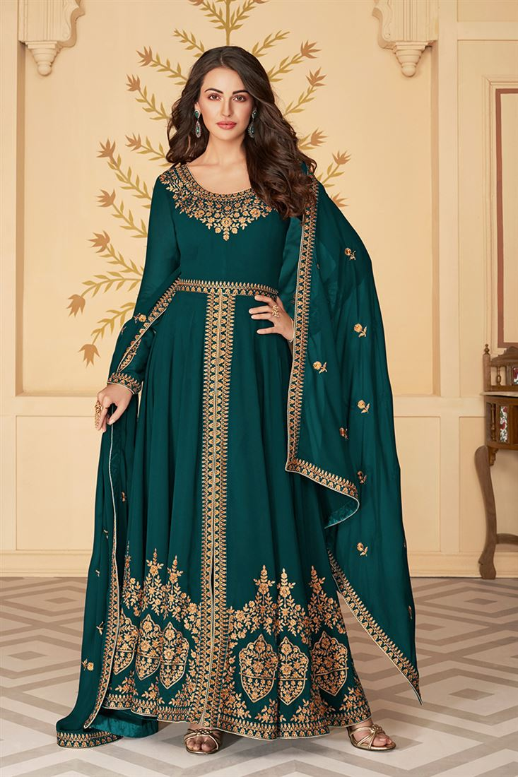 Energetic Deep Rama Colour Georgette Embroidered Straight Cut Salwar Suit