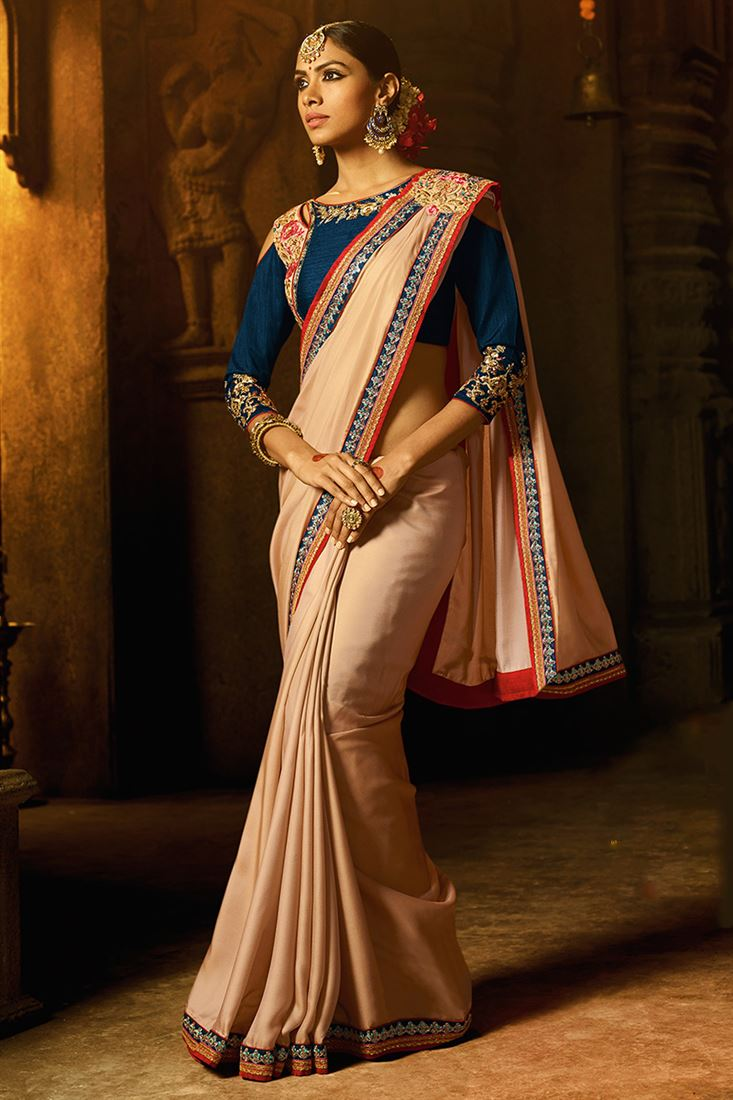 Chikoo Colour Devsena Fabric Designer Party Wear Saree With Fancy Blouse