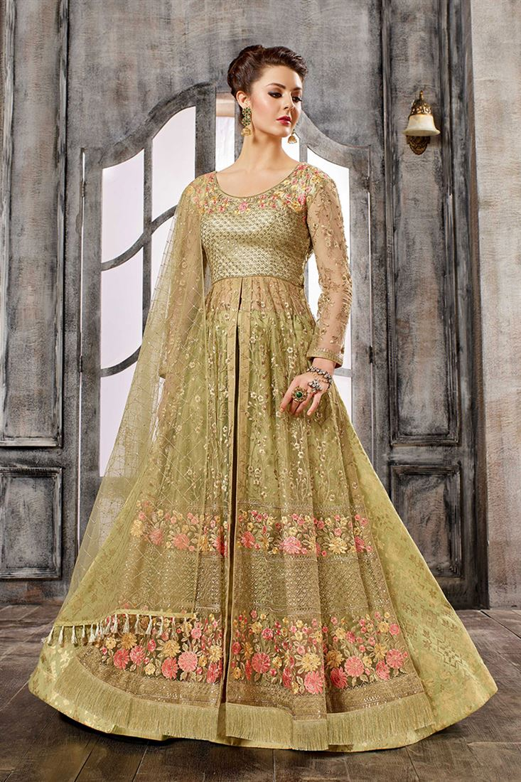 Celebrations Light Olive Green Colour Net Fabric Designer Embroidered Indo-Western Style Suit
