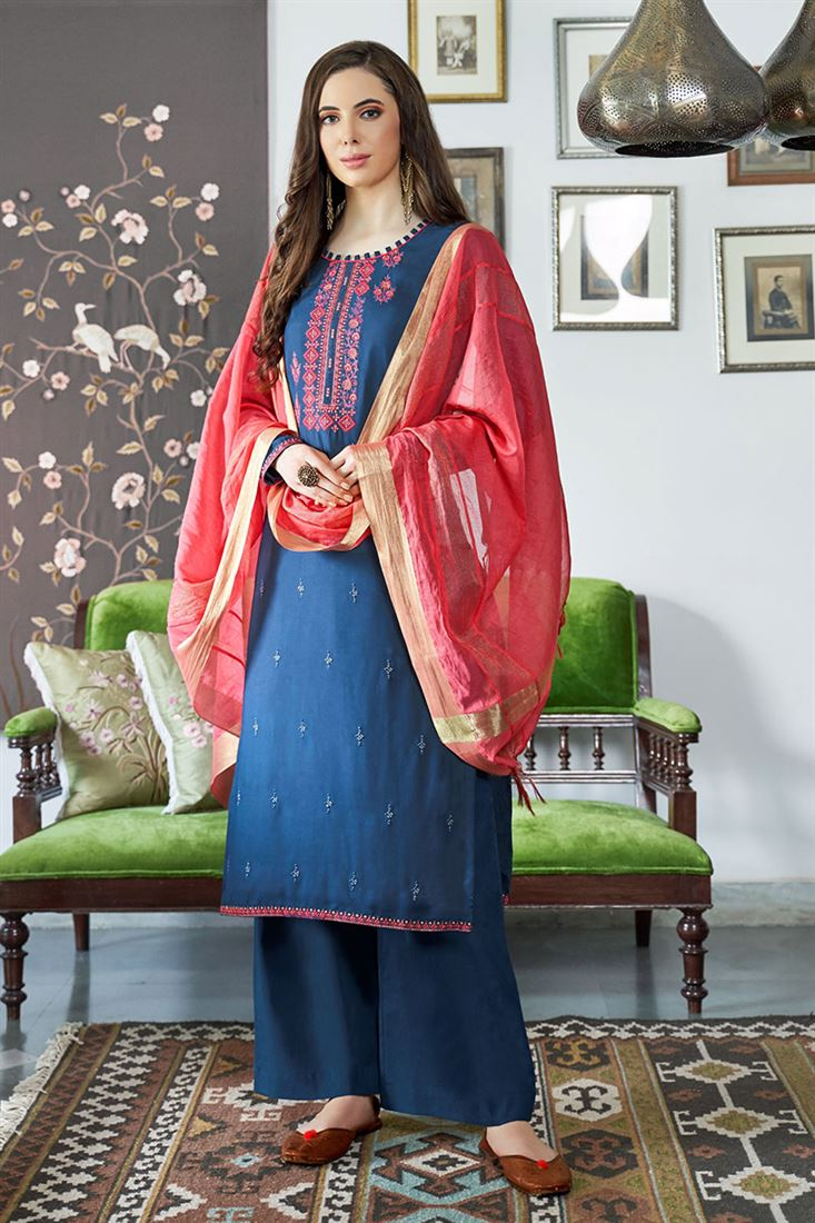 Attractive Blue Colour Viscos Muslin Fabric Salwar Suit With Embroidery Work