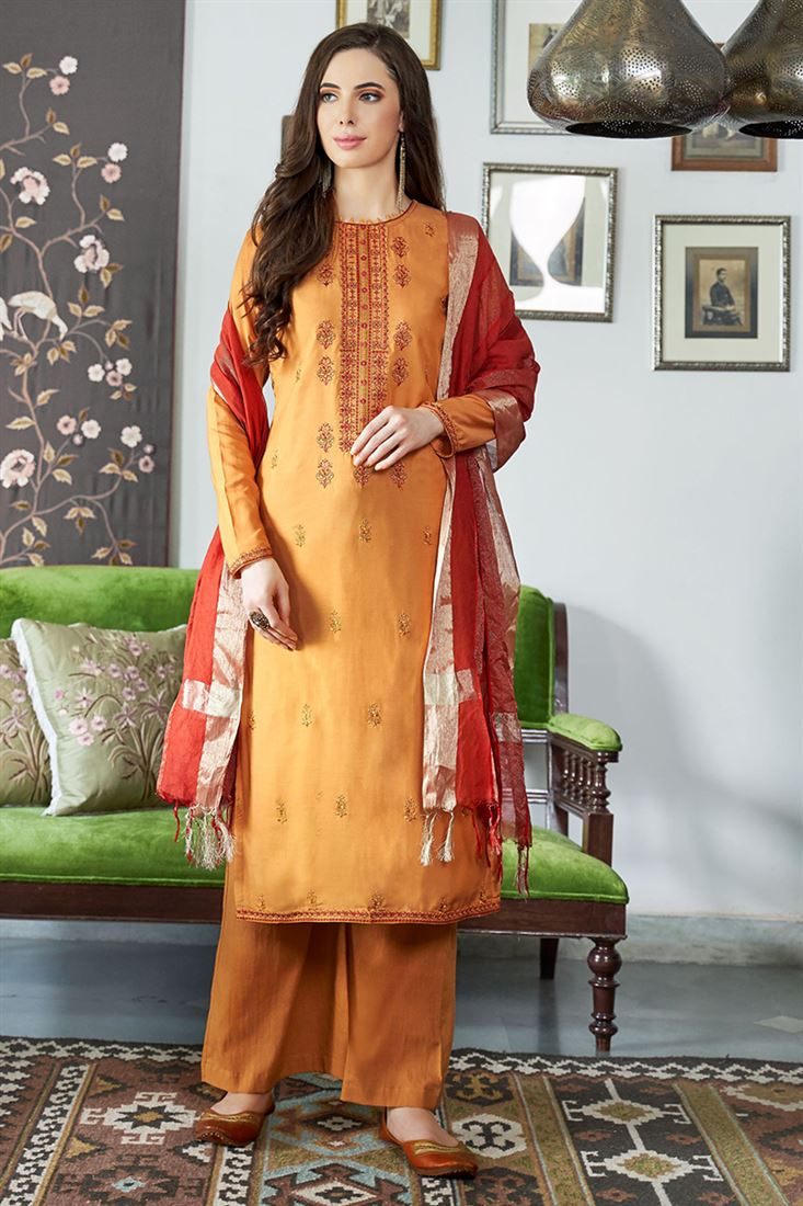 Orange Colour Viscos Muslin Fabric Salwar Suit With Embroidery Work