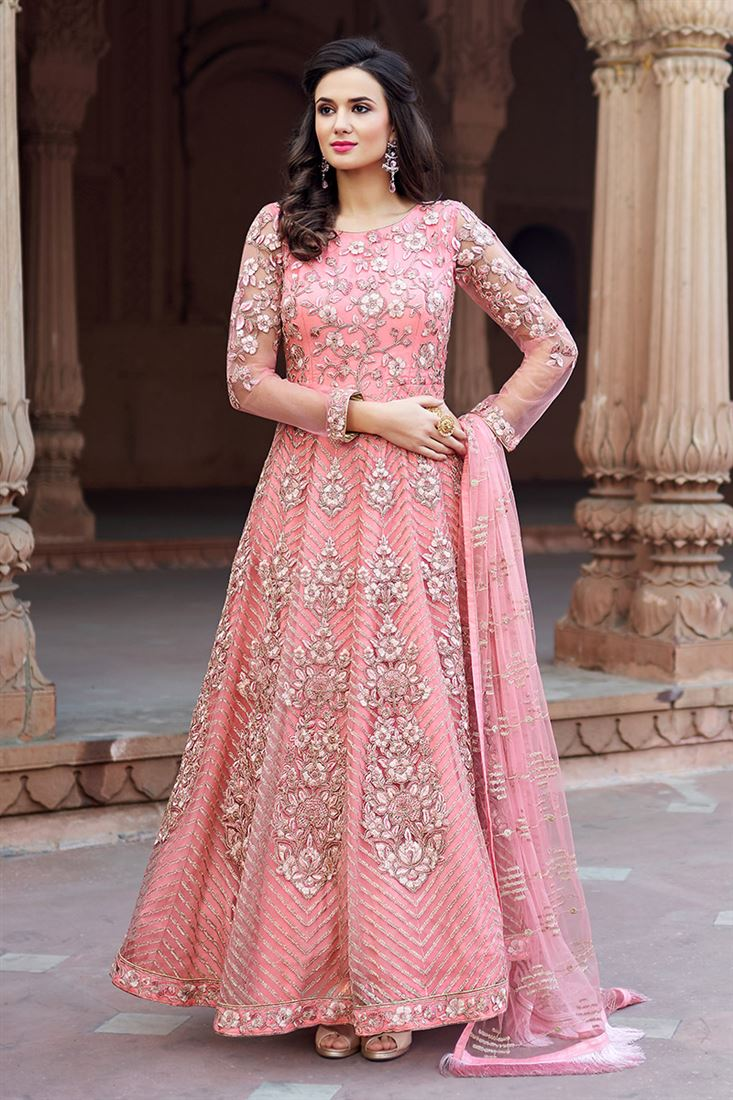Majestic Pink Colour Net Fabric Designer Embroidered Salwar Suit