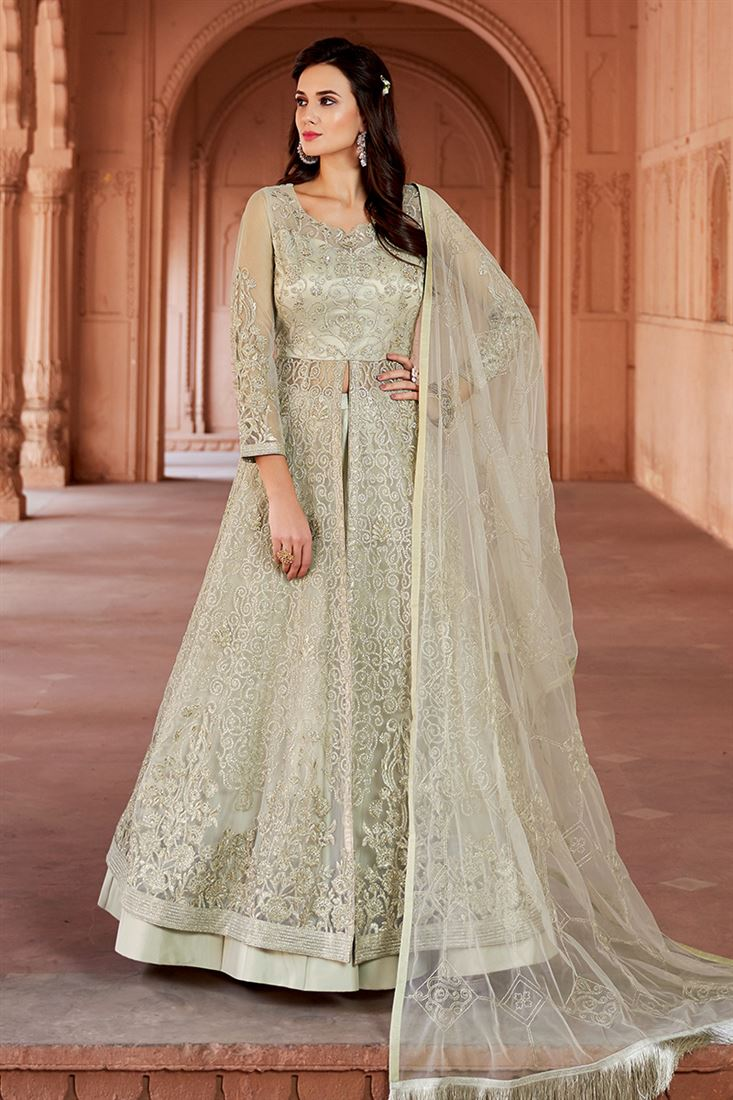 Majestic Light Green Colour Net Fabric Designer Embroidered Salwar Suit