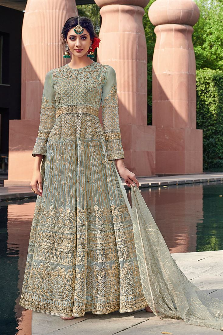 Regal Light Green Embroidered Festive Wear Net Anarkali Suit With Net Dupatta