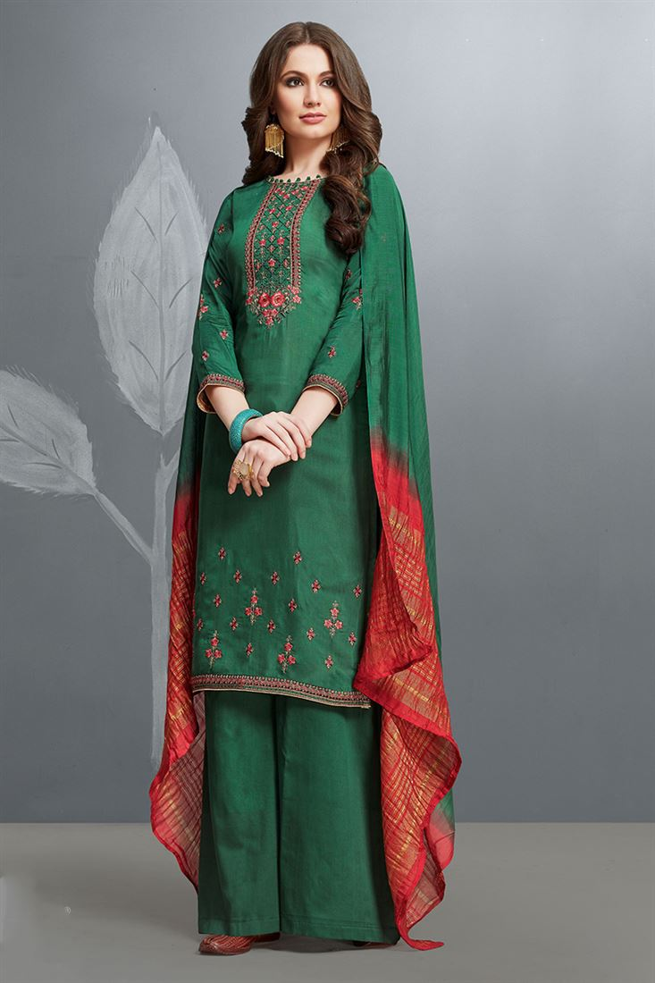 Alluring Green Colour Cotton Silk Salwar Suit With Embroidery Work