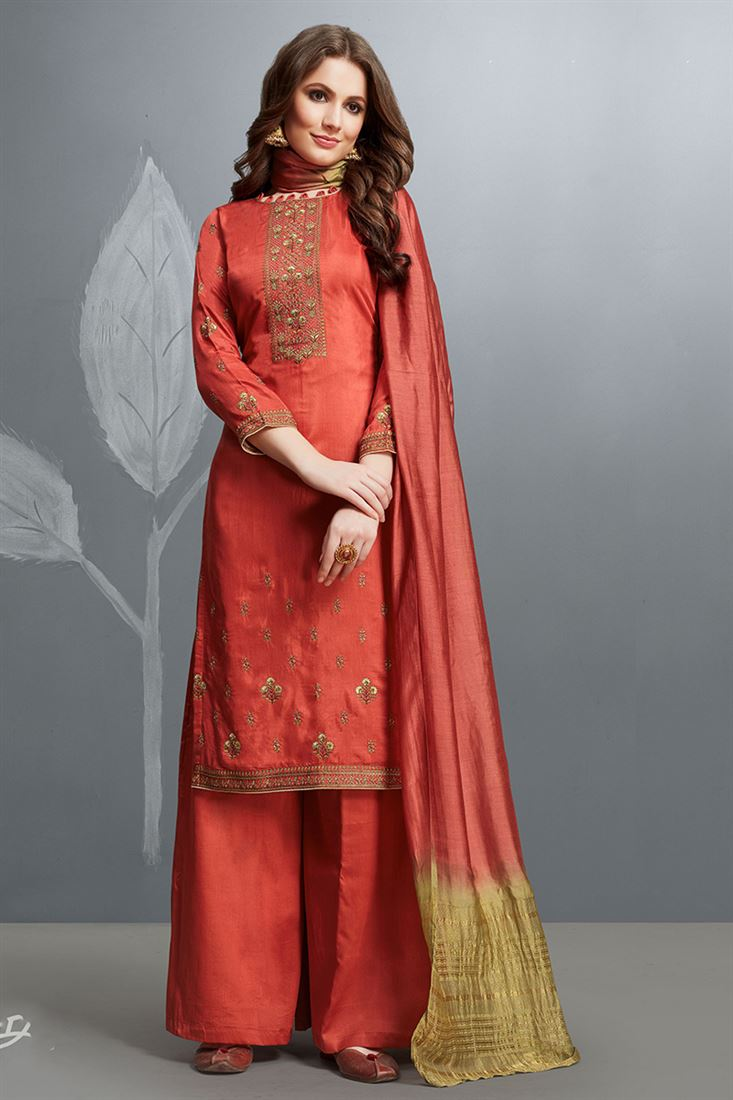 Dark Salmon Colour Cotton Silk Salwar Suit With Embroidery Work