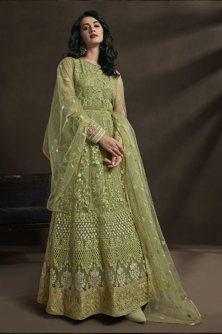 Parrot Green Colour Net Fabric Designer Party Wear Suit With Net Dupatta