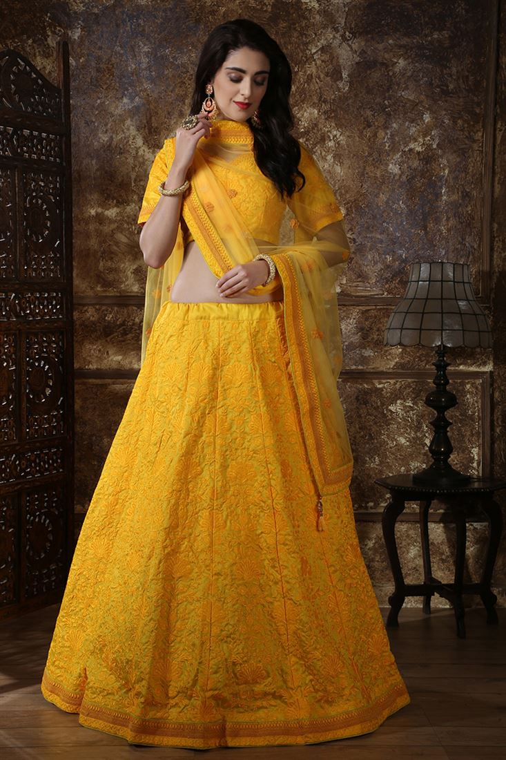 Yellow Colour Silk Fabric Designer Wedding Wear Lehenga Choli With Net Dupatta
