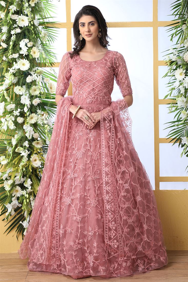 Dusty Peach Colour Net With Santoon Inner Designer Party Wear Long Anarkali Gown With Net Dupatta