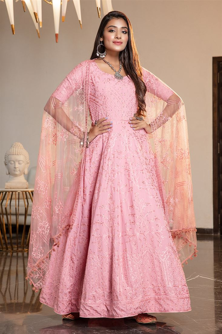 Amazing Pink Colour Georgette Fabric Designer Anarkali Long Gown With Net Dupatta