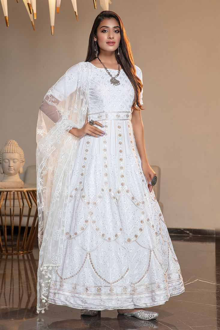 White Colour Georgette Fabric Designer Anarkali Long Gown With Net Dupatta