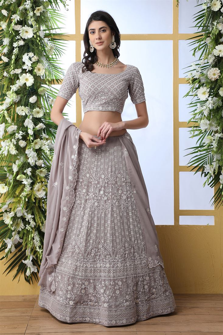 Entrancing Grey Color Georgette Fabric Designer Wedding Wear Lehenga Choli With Georgette Dupatta