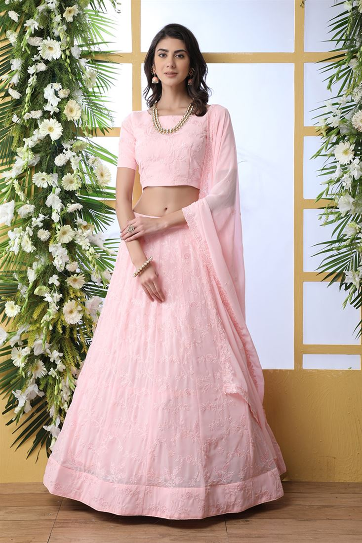 Ravishing Baby Pink Color Georgette Fabric Designer Wedding Wear Lehenga Choli With Georgette Dupatta