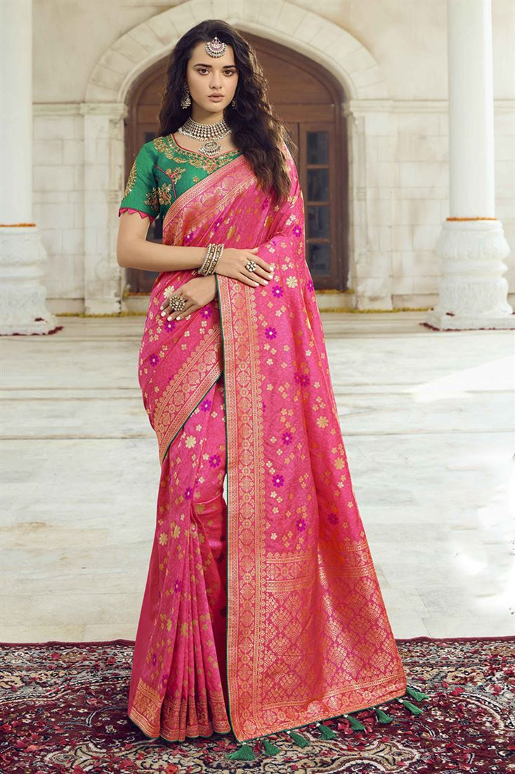 Dark Pink Colour Heavy Silk Designer Wedding Wear Saree With Double Blouse One Plain And One Embroidred Work