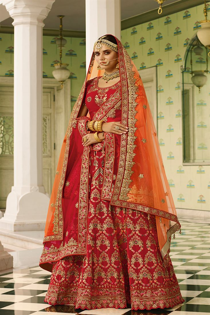 Royal Tantalizing Red Color Velvet Fabric Bridal Lehenga Choli With Double Dupatta In Net