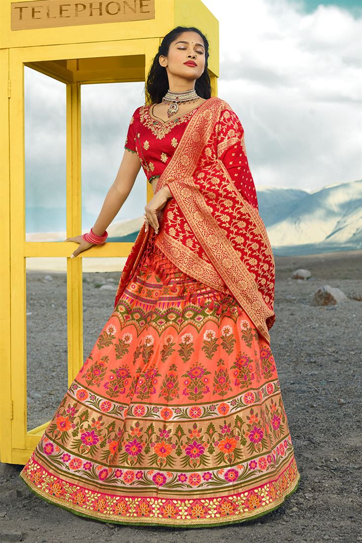 Royale Salmon Silk Jacquard Wedding Wear Lehenga Choli