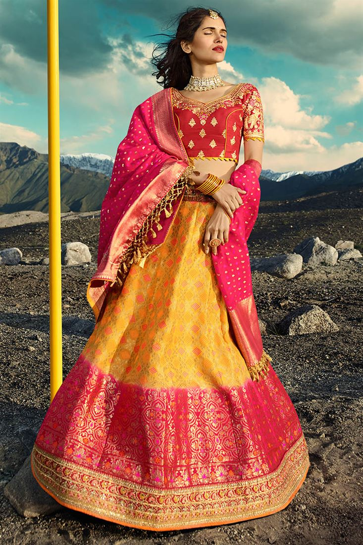 Royale Yellow & Red Silk Jacquard Wedding Wear Lehenga Choli