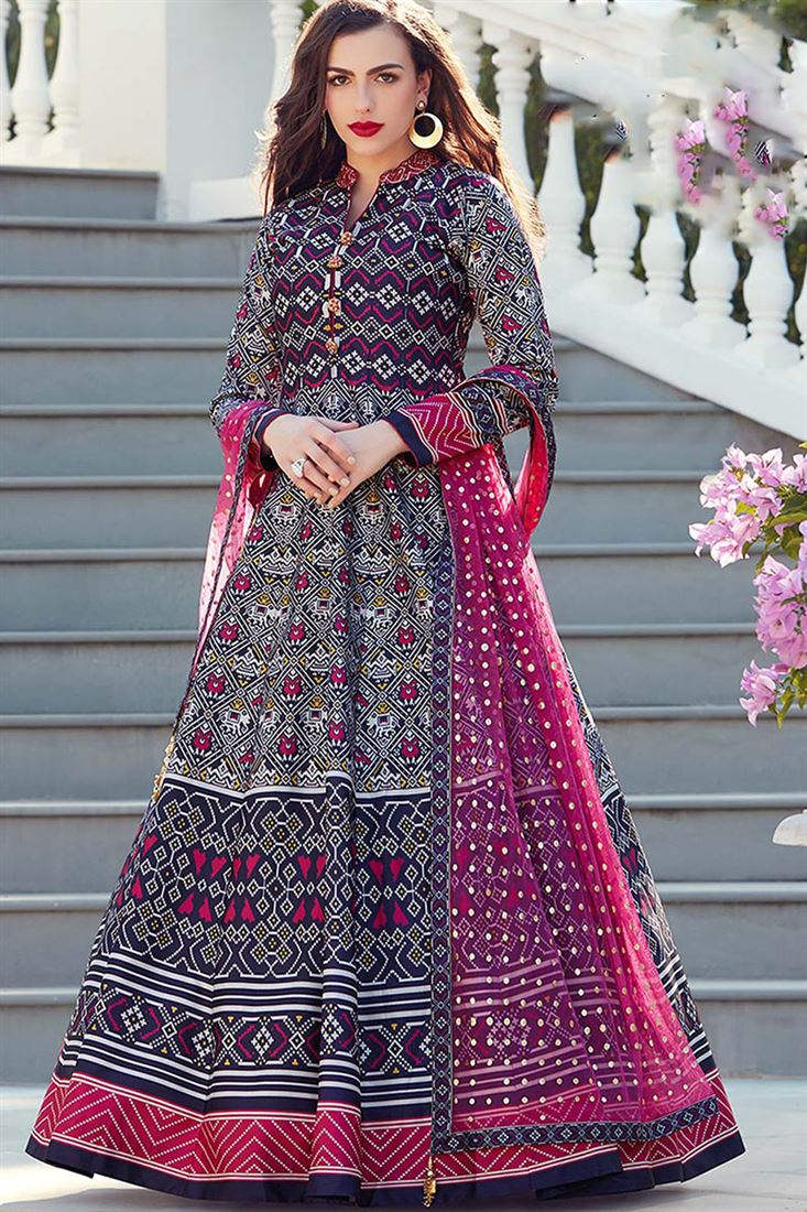 Virasat Navy Blue Colour Heavy Soft Silk Fabric Designer Party Wear Gown With Soft Net Table Print Dupatta