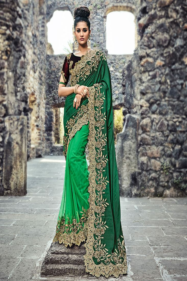 Elite Green Satin Silk & Net Heavy Half-Half Wedding Wear Saree