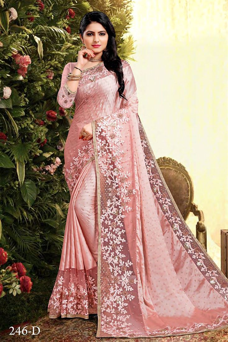 Pink Colour Satin Georgette Designer Wedding Wear Saree With Banglori Embroidered Blouse