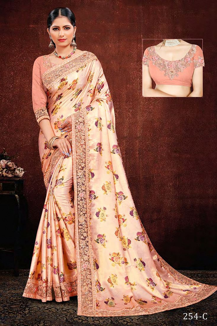 Peach Modal Silk Satin Digital Printed Saree With Banglori Embroidered Embroidered Blouse